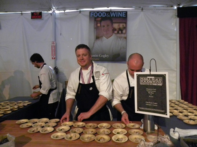 Chef Justin Cogley of Aubergine and his dungeness crab appetizer