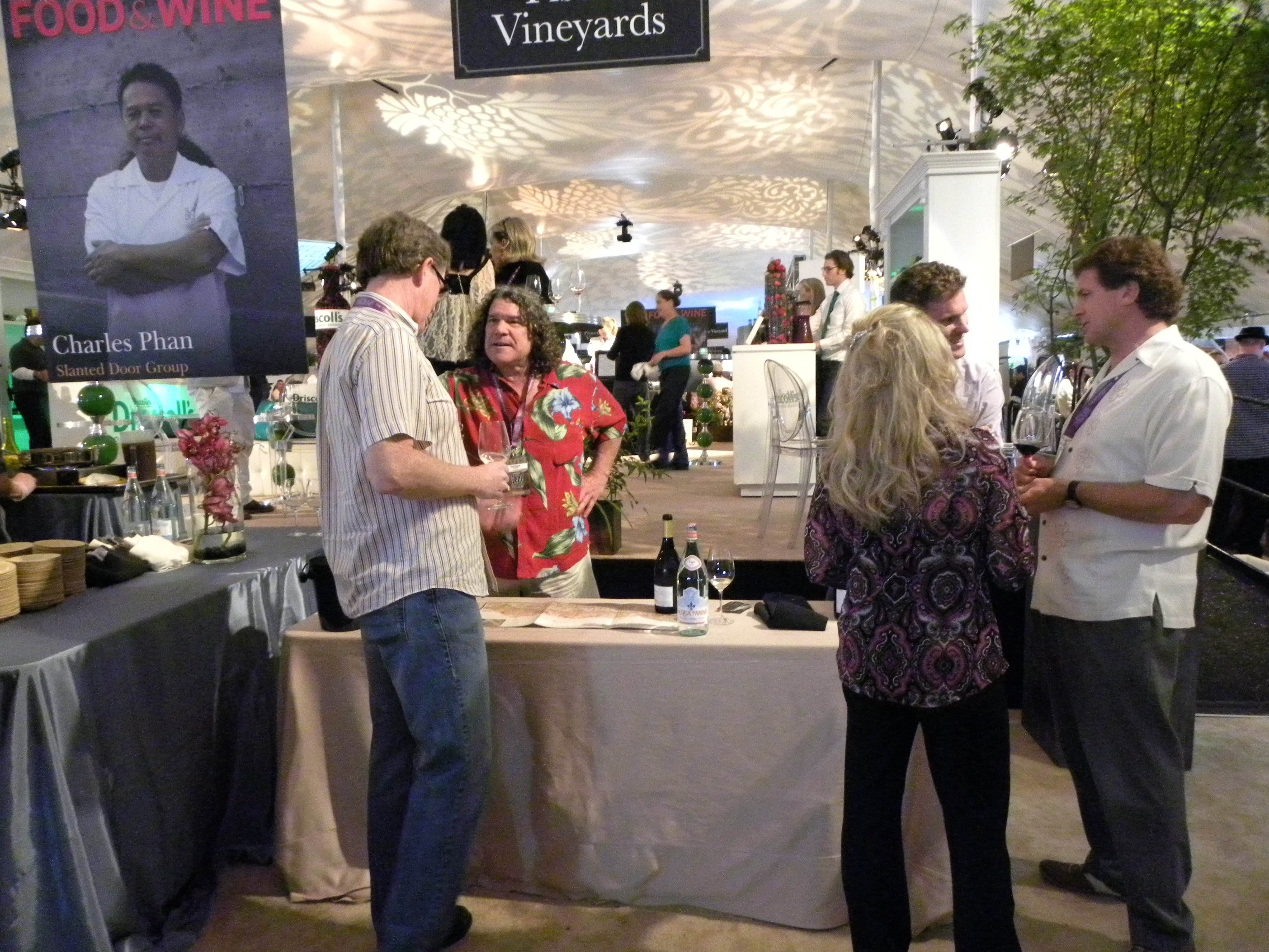 Gary Pisoni talks wine with a guest