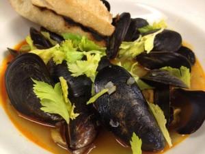 PEI mussels in chorizo broth with celery tenders