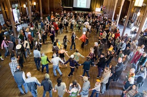 A spiral dance closed EcoFarm (photo courtesy Trav Williams )