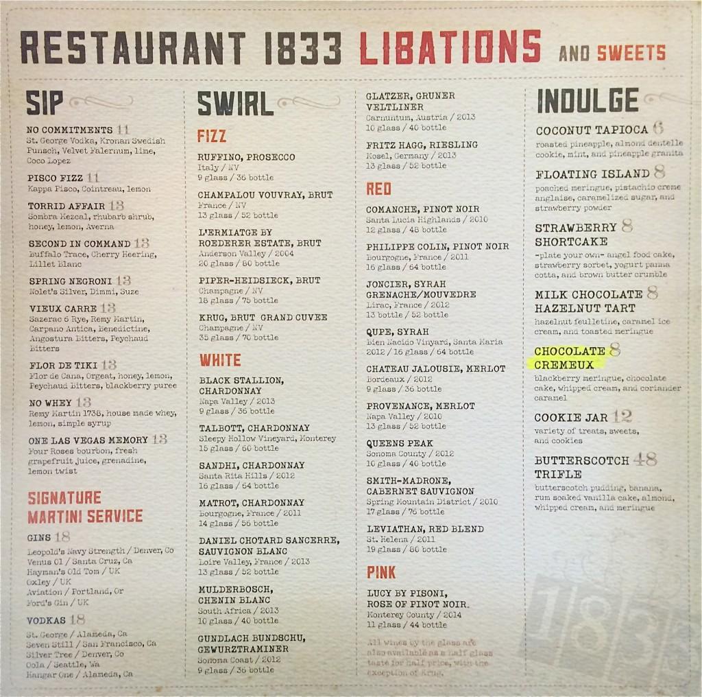 Back of menu