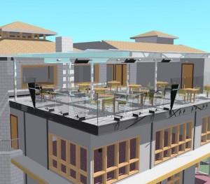 PE outdoor dining deck rendering