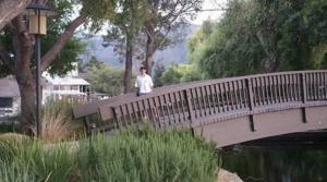Son Caleb on the bridge that dad built at Quail Lodge