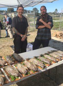 Chef Brad Briske and assistant prepare rock cod