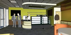 Artist's rendering of new cafe and roastery