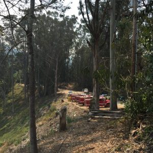 A staging area for firefighters at the entrance to Glen Devan Ranch