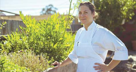 Chef Katherine Stern with her herbs.