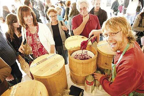 Chris Pester serving up Farmhouse Culture's kraut